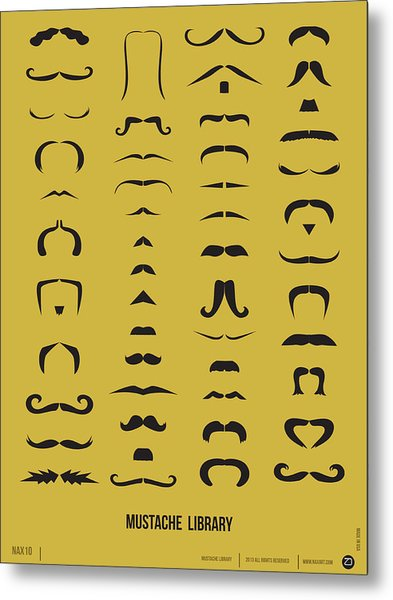 Mustache Library Poster Metal Print