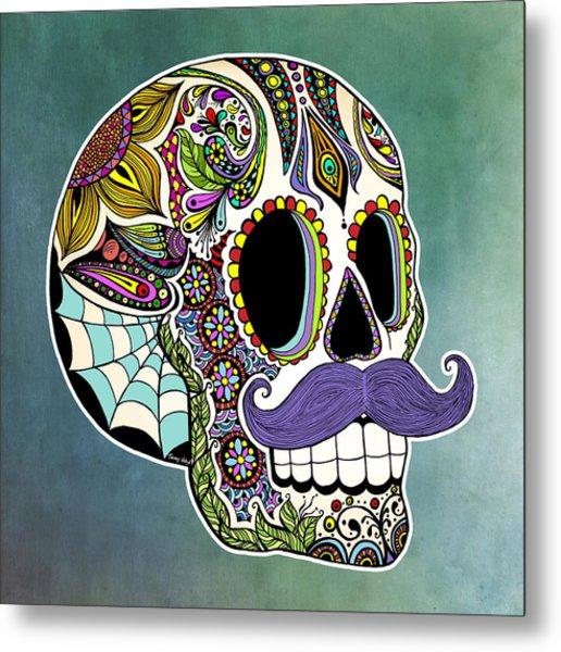 Mustache Sugar Skull Metal Print