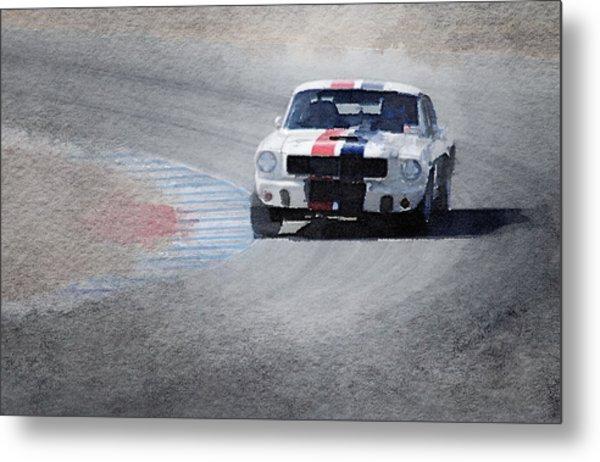 Mustang On Race Track Watercolor Metal Print