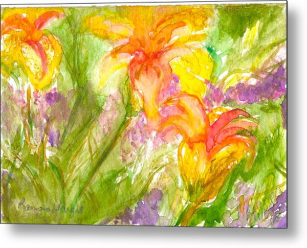 Muti-colored Flowers Metal Print by Ramona Wright