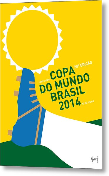 My 2014 World Cup Soccer Brazil - Rio Minimal Poster Metal Print