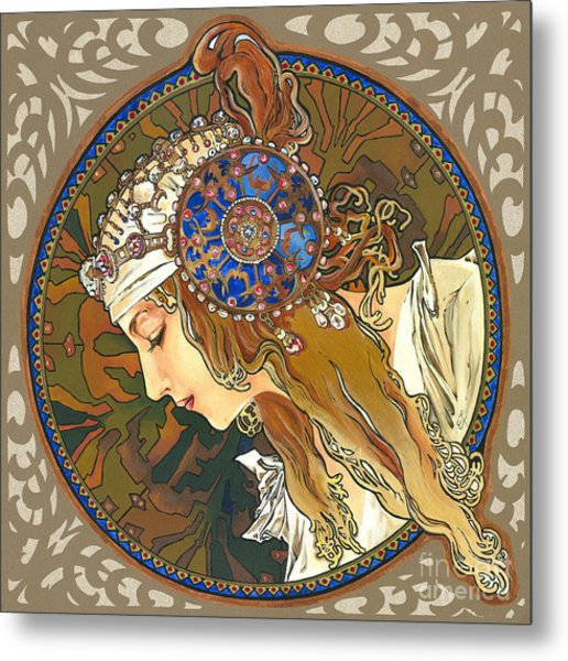 My Acrylic Painting As Interpretation Of Alphonse Mucha- Byzantine Head. The Blonde. Diagonal Frame. Metal Print