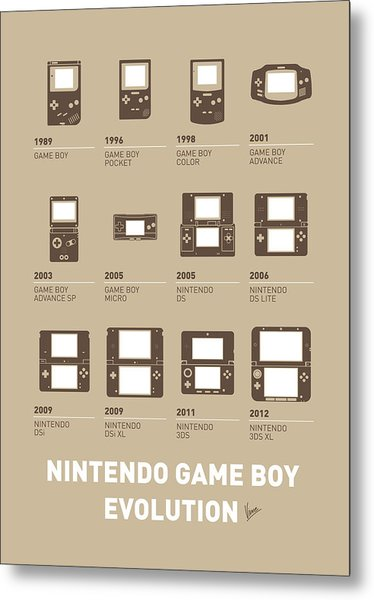 My Evolution Nintendo Game Boy Minimal Poster Metal Print
