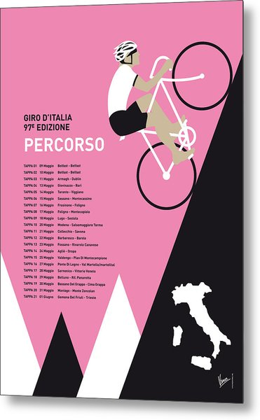 My Giro D Italia Minimal Poster 2014-percoso Metal Print