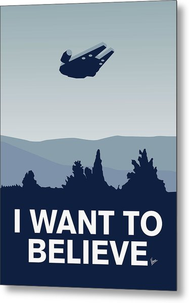 My I Want To Believe Minimal Poster-millennium Falcon Metal Print