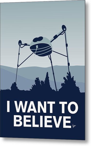 My I Want To Believe Minimal Poster-war-of-the-worlds Metal Print
