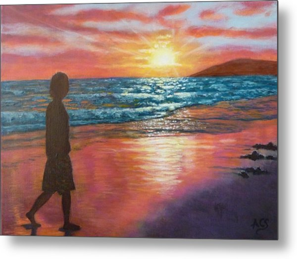 Metal Print featuring the painting My Sonset by Amelie Simmons