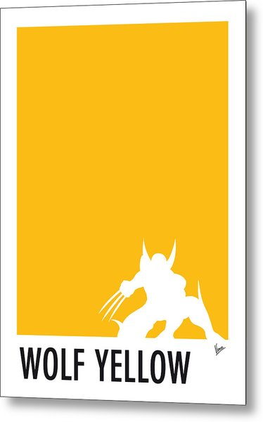 My Superhero 05 Wolf Yellow Minimal Poster Metal Print