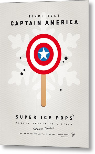 My Superhero Ice Pop - Captain America Metal Print