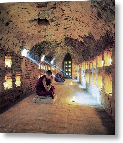 Myanmar, Buddhist Monks Inside Metal Print by Martin Puddy