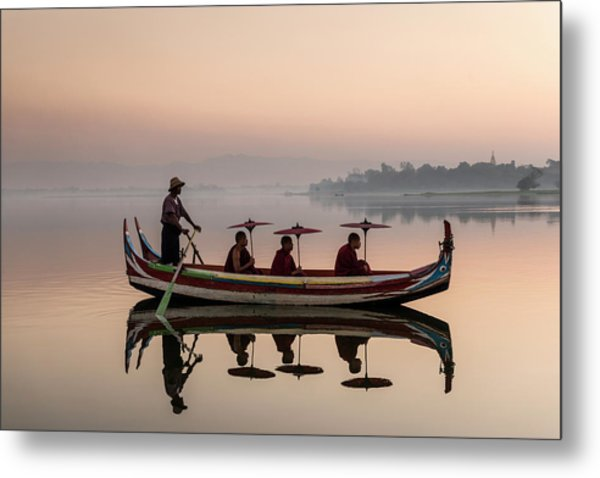 Myanmar, Monks In Boat At Ubein Bridge Metal Print by Martin Puddy