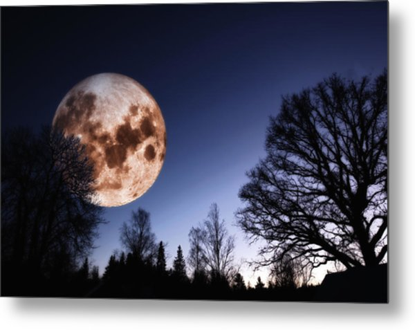 Mysterious Full Moon Rising Over Forest Metal Print