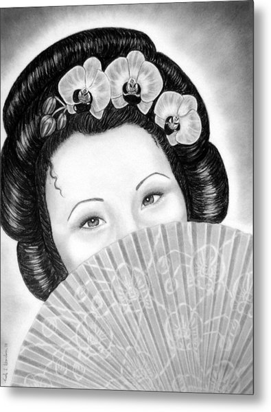 Mysterious - Geisha Girl With Orchids And Fan Metal Print by Nicole I Hamilton