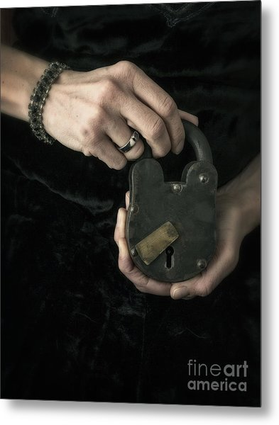 Mysterious Woman With Lock Metal Print