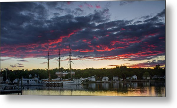 Mystic River Burning Sunset Metal Print