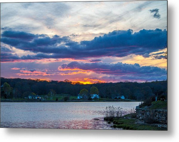 Mystic River Sunset Metal Print