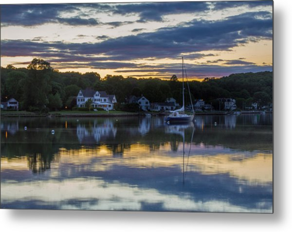 Mystic River Sunset Reflection Metal Print