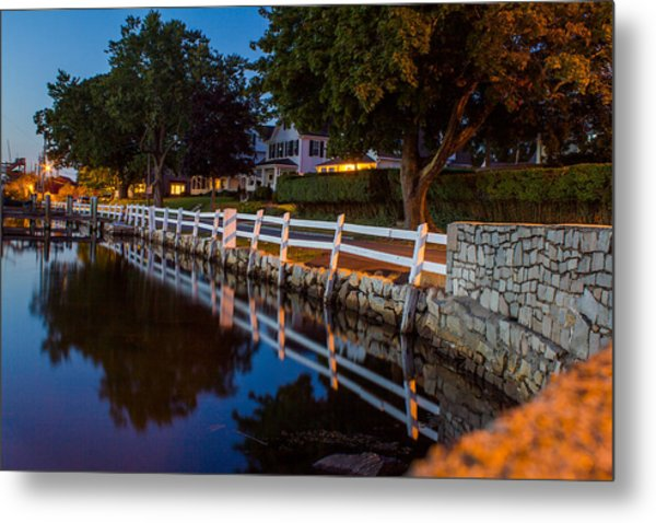 Mystic River Wall Reflection Metal Print