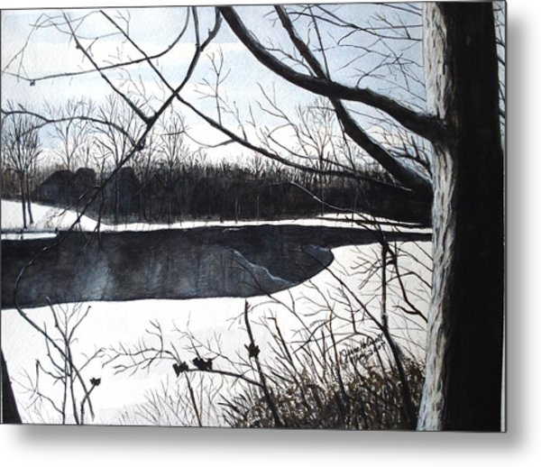 Mystic River - Winter Remnants Metal Print
