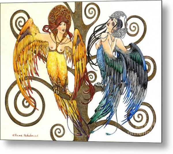 Mythological Birds-women Alconost And Sirin- Elena Yakubovich  Metal Print