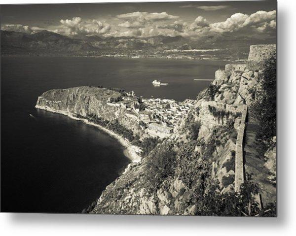 Nafplio Peninsula Sepia Metal Print by David Waldo