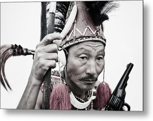 Naga Tribal Warrior In Traditional Metal Print by Exotica.im