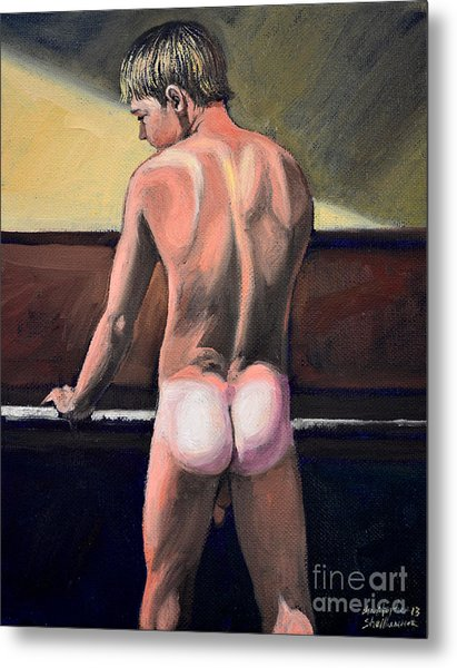 Naked Nude Male Piano Player Metal Print