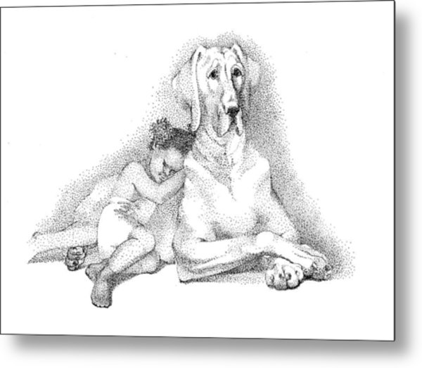 Nap Time. Dog And A Girl. Stippling. Metal Print