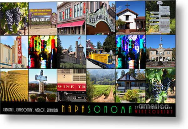 Napa Sonoma County Wine Country 20140906 With Text Metal Print