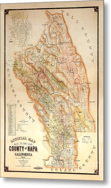 Napa Valley Map 1895 Metal Print