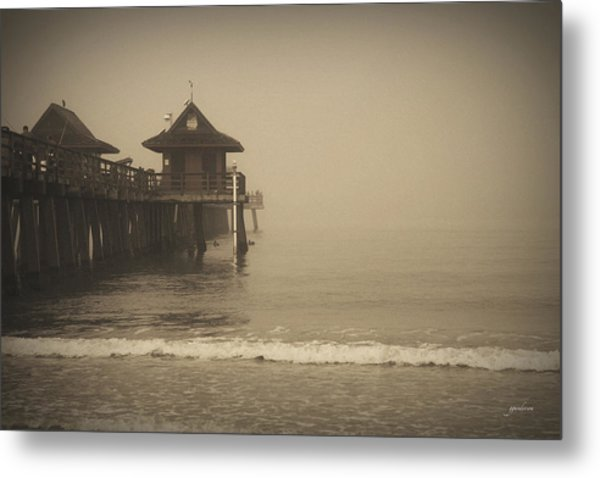 Naples Pier In The Fog Metal Print