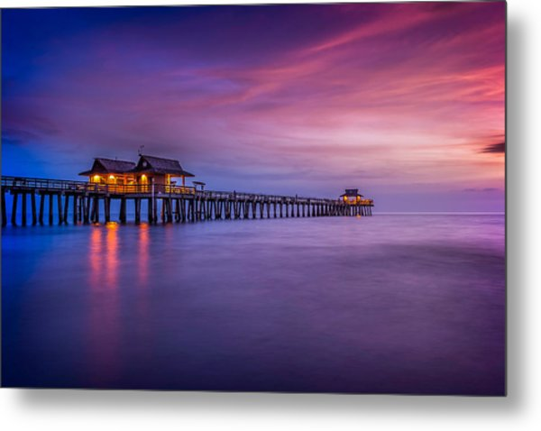 Naples Pier Purple Sunset Metal Print
