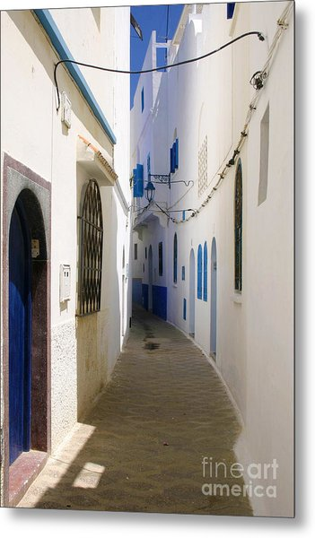 Narrow Backstreet In The Medina Of Asilah On Northwest Tip Of Atlantic Coast Of Morocco Metal Print by PIXELS  XPOSED Ralph A Ledergerber Photography
