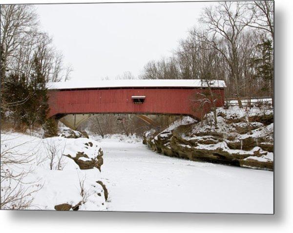 Narrow Covered Bridge In Winter, Turkey Metal Print