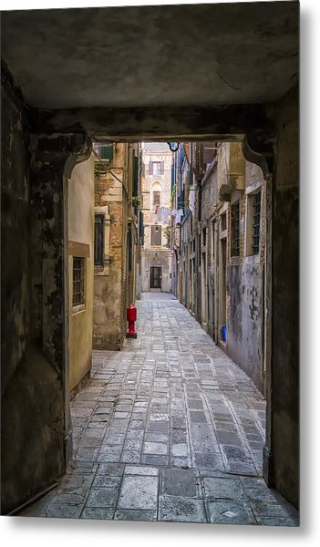 Narrow Street In Venice Metal Print by Francesco Rizzato