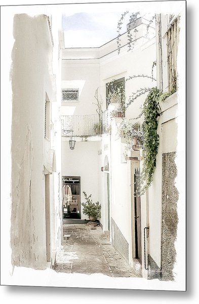 Narrow Walkway Of Capri Metal Print
