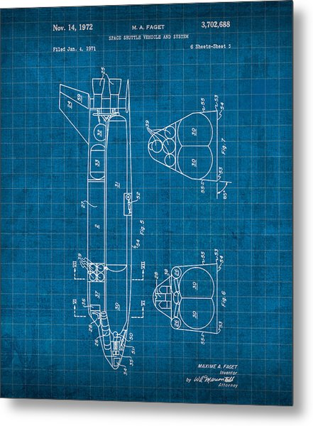 Nasa Space Shuttle Vintage Patent Diagram Blueprint Metal Print