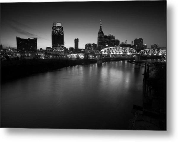 Nashville Skyline Black And White Metal Print