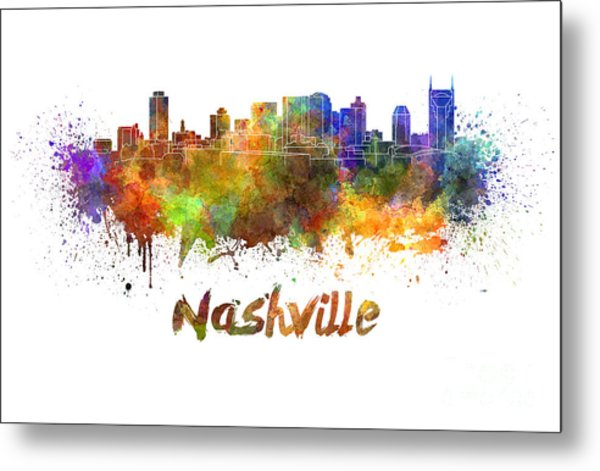 Nashville Skyline In Watercolor Metal Print