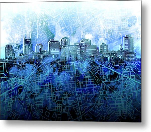 Nashville Skyline Watercolor 3 Metal Print