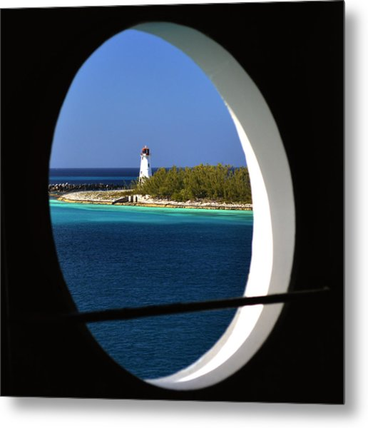 Nassau Lighthouse Porthole View Metal Print by Bill Swartwout Photography