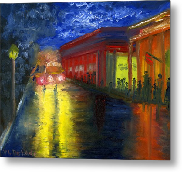 Natchitoches Louisiana Mardi Gras Parade At Night Metal Print