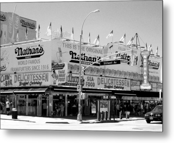 'nathan's Famous Hot Dogs' Metal Print