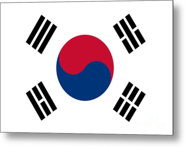 National Flag Of South Korea Authentic  Metal Print