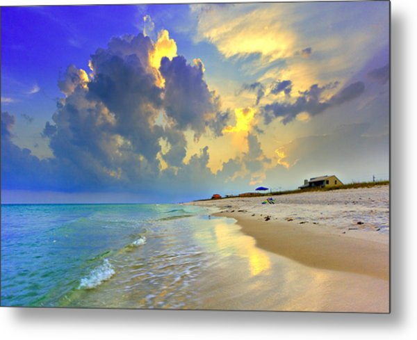National Seashore Navarre Pensacola Beach Florida Blue Sunset Art Prints Metal Print