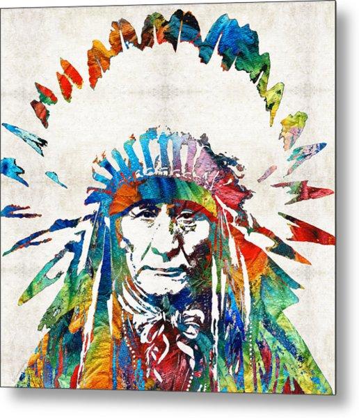Native American Art - Chief - By Sharon Cummings Metal Print