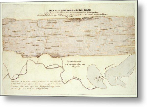 Native American Birch-bark Map Metal Print