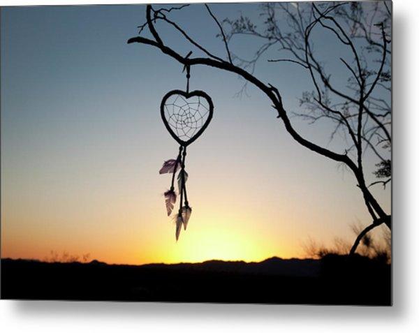 Native American Heart Shaped Metal Print by Angel Wynn