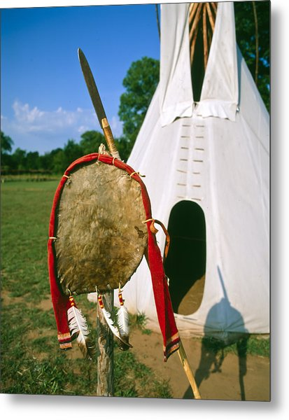 Native American Shield And Spear Metal Print