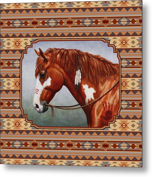 Native American War Horse Southwestern Pillow Metal Print